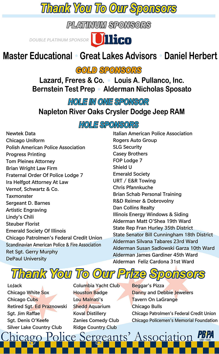 2019 Golf Outing Sponsors - Thank You!