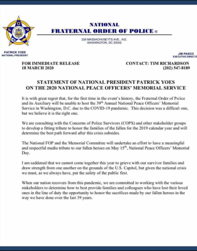 National Peace Officers' Memorial Cancelled letter